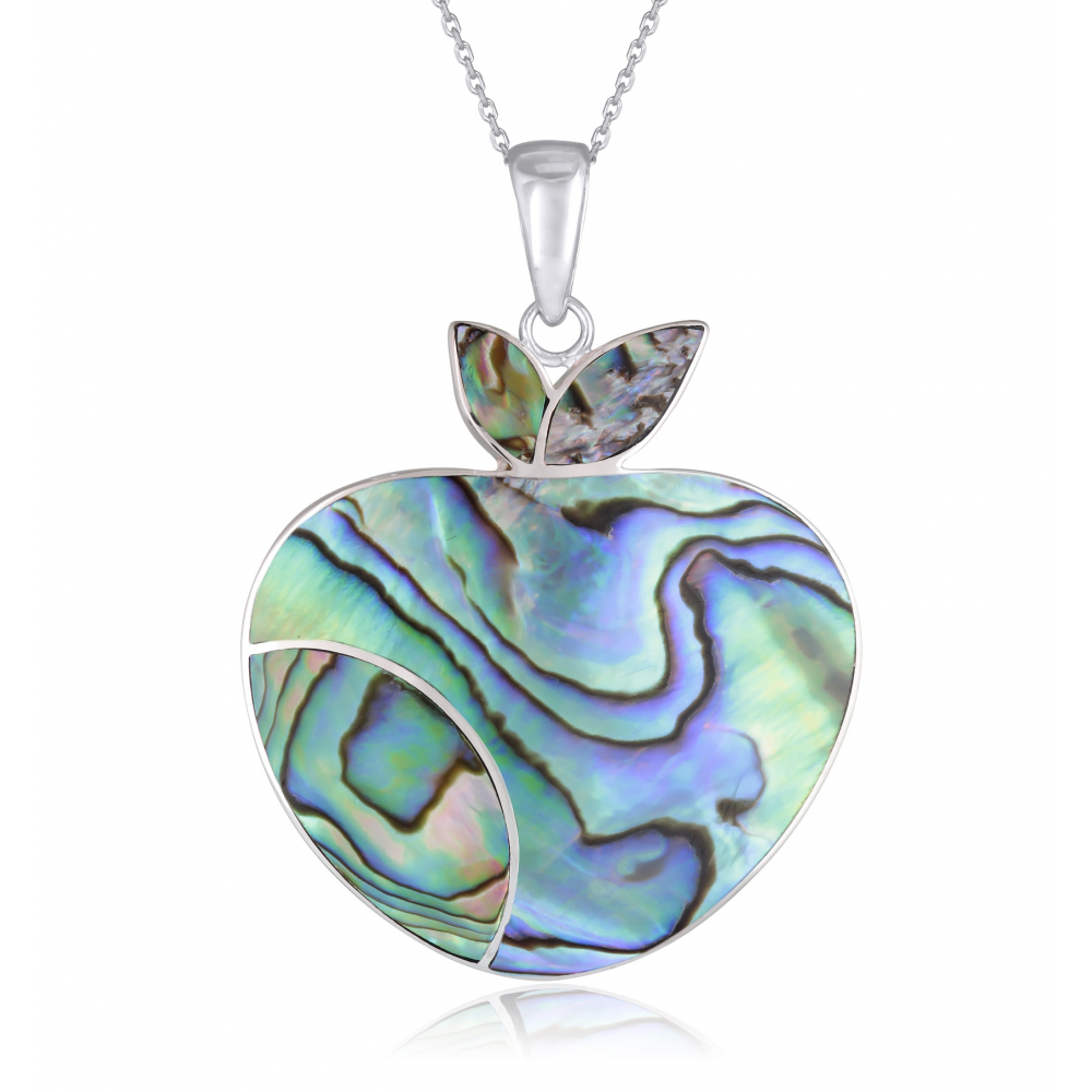 925 Sterling Silver Abalone Mother-of-pearl Apple Pendant