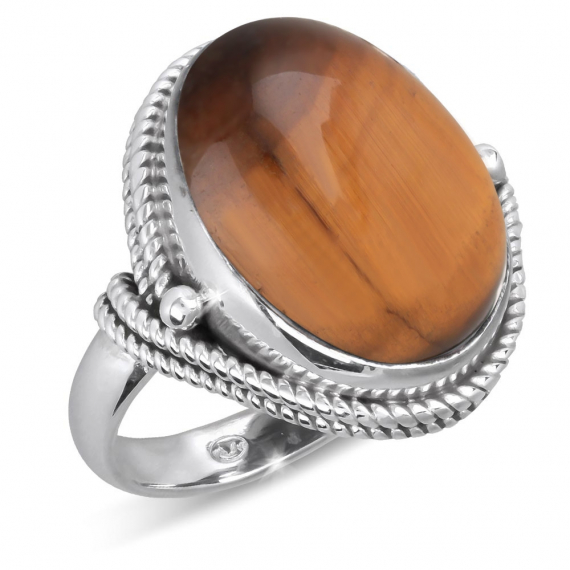 Anello Tiger Eye Stone con colletto in argento 925-000