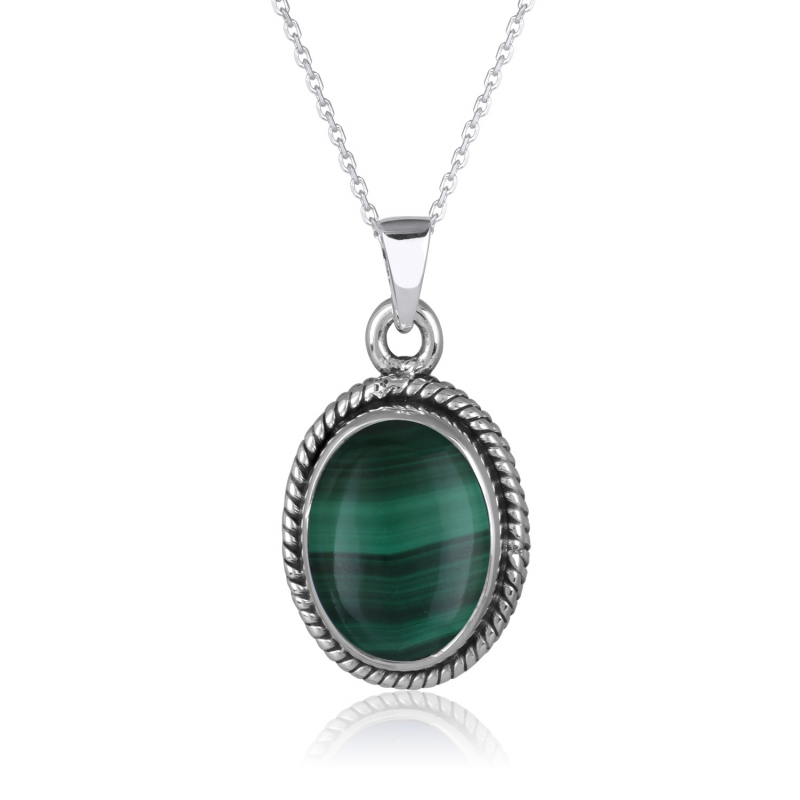 925 Sterlingsilber Malachite Ovale Form Ohrringe
