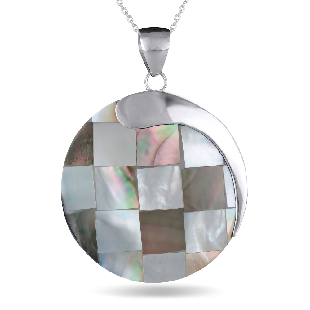 925 Sterling Silver Mother-of-pearl Round Shape Pendant