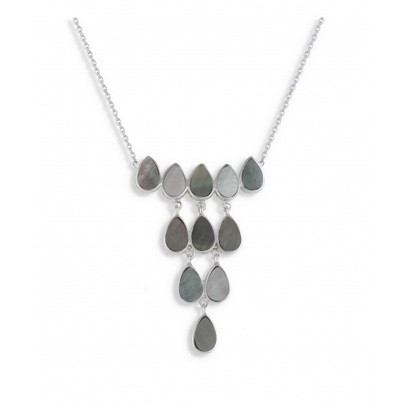 925 Sterling Silver Grey Mother-of-pearl Necklace
