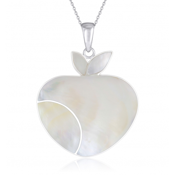 925 Sterling Silver White Mother-of-pearl Apple Pendant
