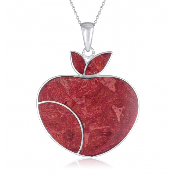 925 Sterling Silver Coral Apple Pendant