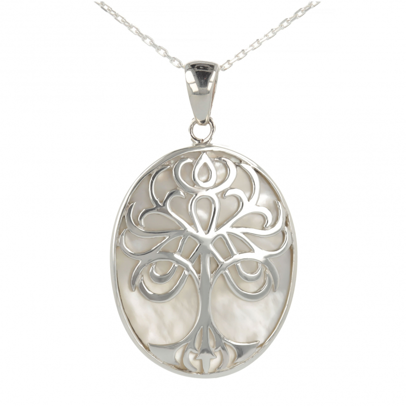 Jewelery Gift Symbol Tree of Life-Pendant - Mother of Pearl white- Sterling Silver-Oval-Unisex