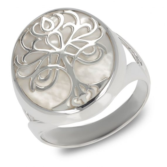 925 Sterling Silver White Mother-of-pearl Tree of Life Ring