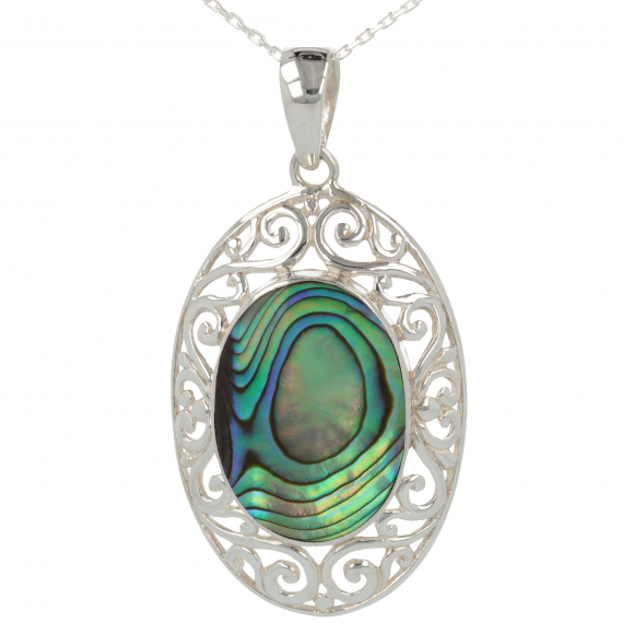 925 Sterling Silver Abalone Mother-of-pearl Oval Shape Pendant
