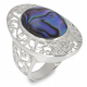 Jewelery Gift-Stylized Ring-Creator-Mother-of-Pearl Abalone-Stylized Ring-Solid Silver-Woman