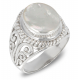 White mother-of-pearl ring set with a silver collar 925-000