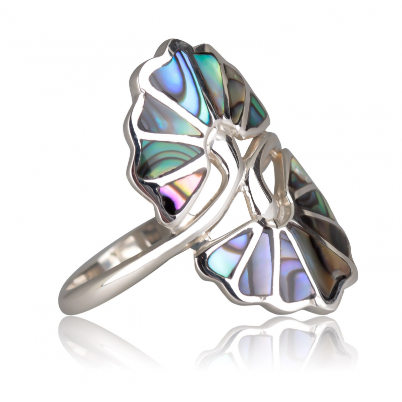 925 Sterling Silver Abalone mother-of-pearl Ring
