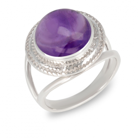 925 Sterling Silver Amethyst Round Shape Ring