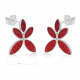 gift woman-Earrings Flower-Red coral-Sterling silver-Woman