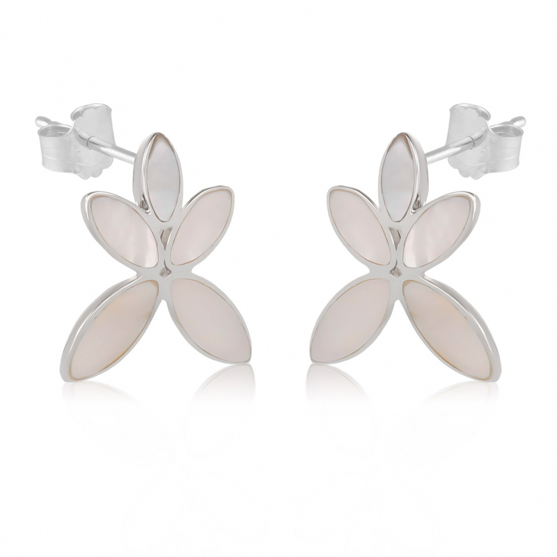 gift woman-Earrings Flower-Mother of pearl white-Sterling silver-Woman
