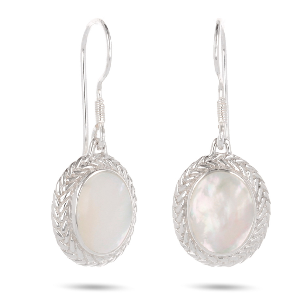 Gift cabochon jewelry-Earrings-Mother of Pearl White- Sterling silver-oval-Woman