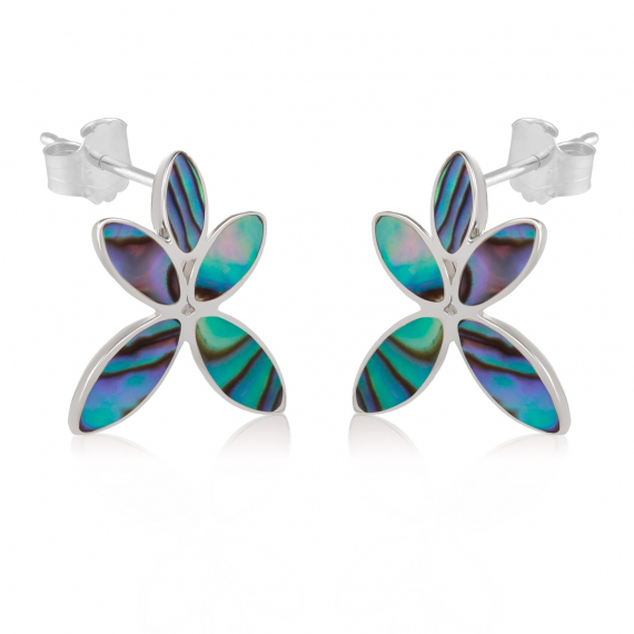 925 Sterling Silver Abalone Mother-of-pearl Flower Earrings