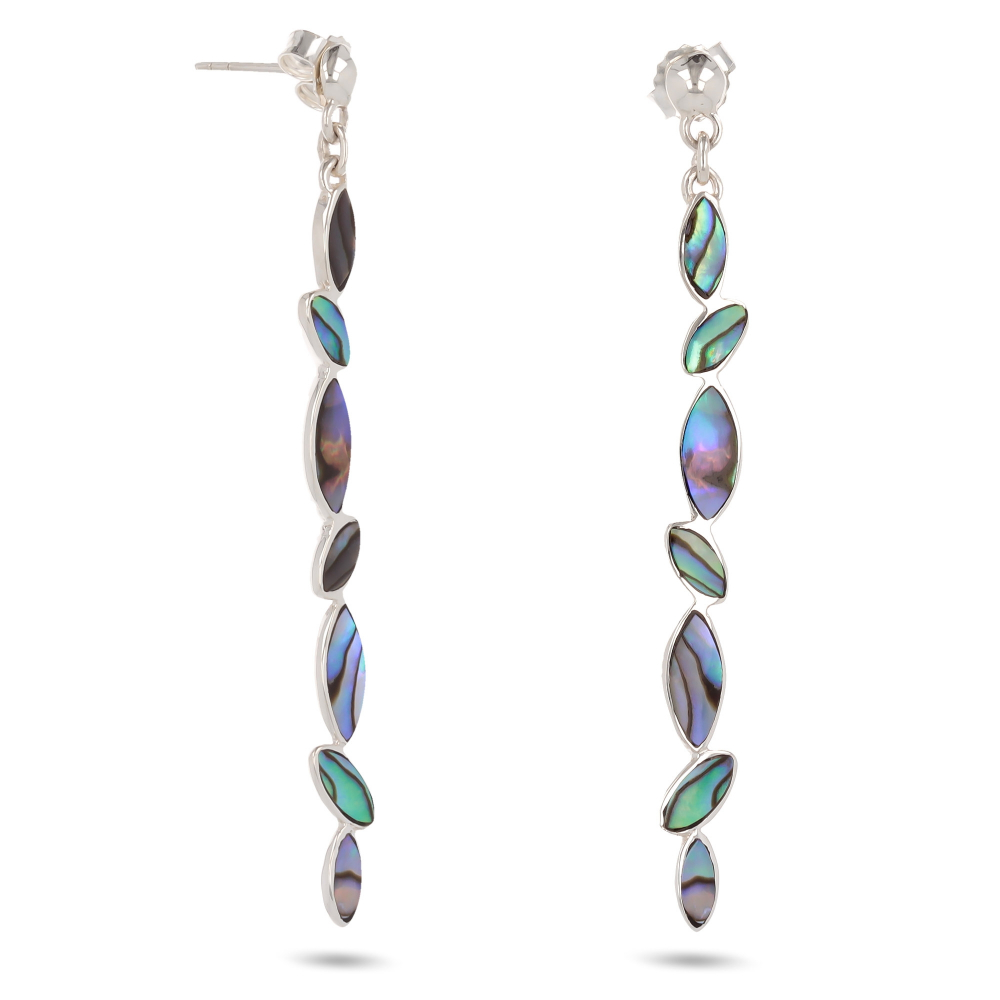 Gift for Women-Dangly Earrings-abalone Mother of Pearl-Sterling Silver-Woman