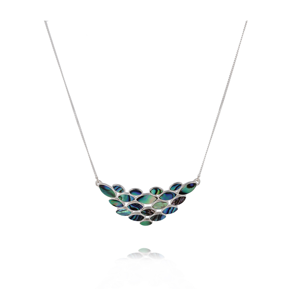 Abalone pearl flower necklace on silver chain