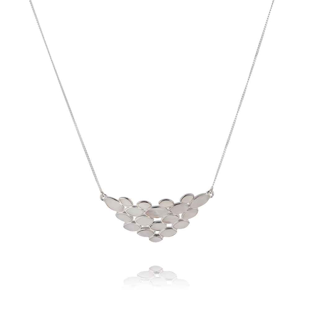 Necklace Abalone pearl petals silver on silver chain