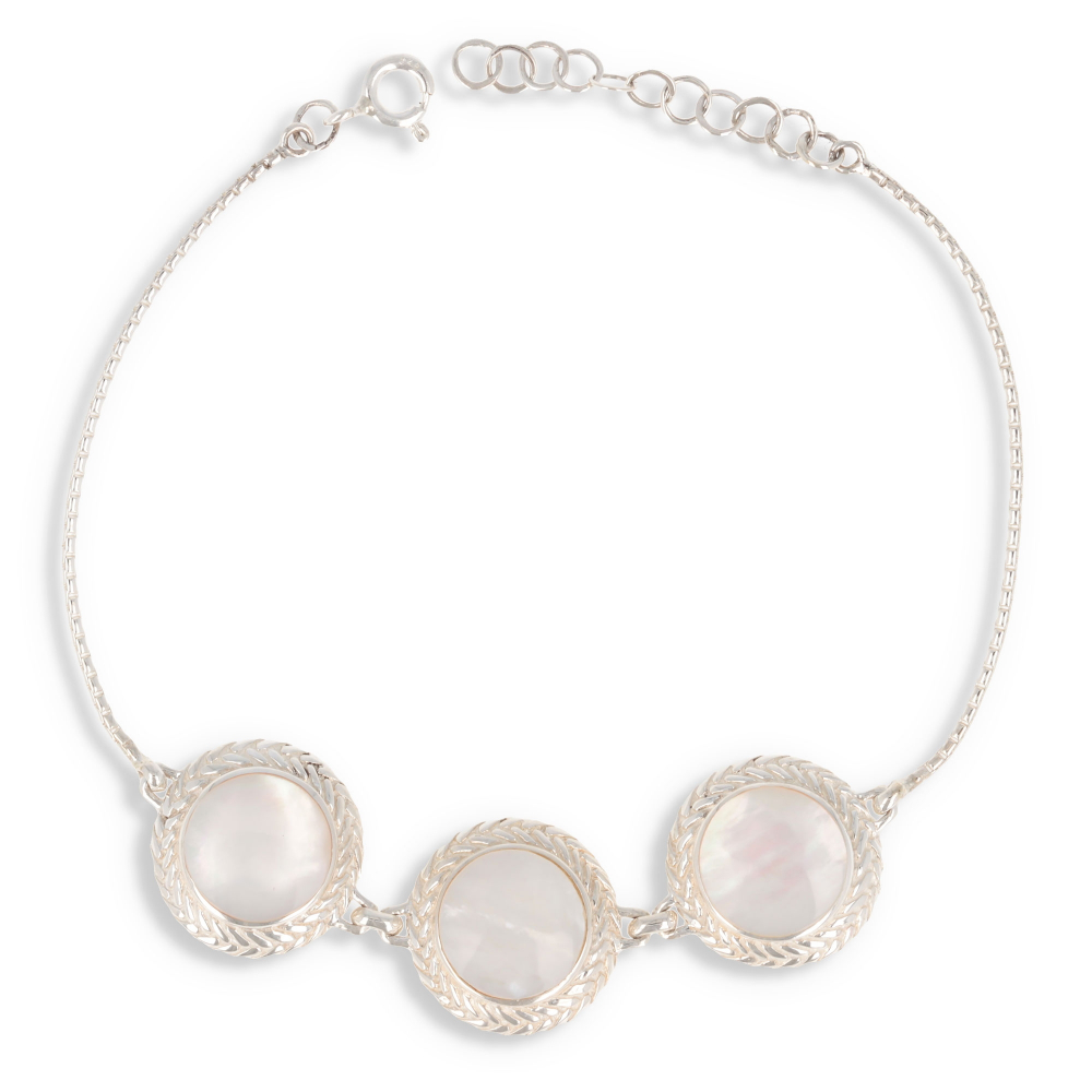 Jewelery Gift 5 cabochons-Bracelet- Mother of Pearl white- Sterling Silver-Oval Shape- Sterling Silver-Woman