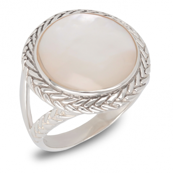 925 Sterling Silver White Mother-of-pearl Round Shape Ring