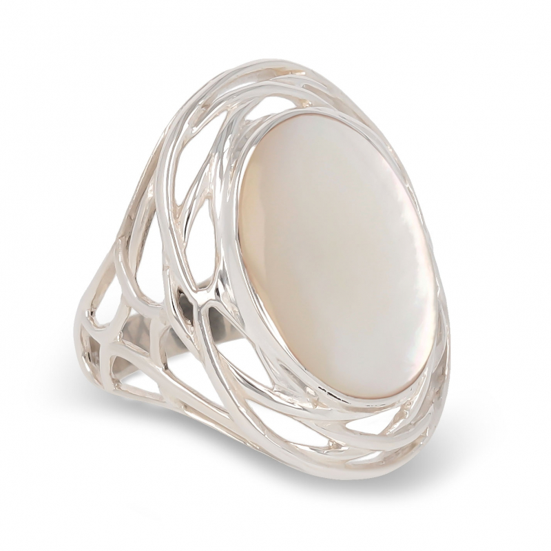 gift woman original - Cabochon ring mother of pearl white oval on nest of silver-Woman-White
