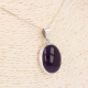 Lithotherapy-Unique Piece-Amethyst Cabochon Drop Shape Pendant on Silver