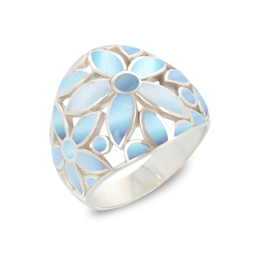 925 Sterling Silver Blue Mother-of-pearl Flower Ring