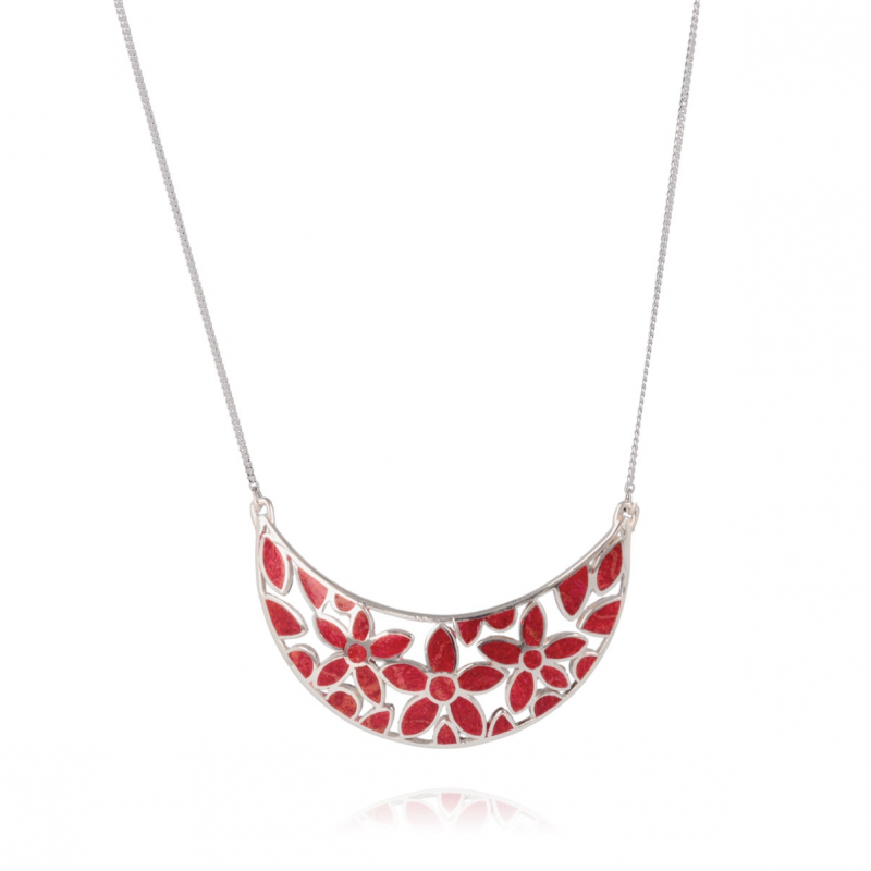 Coral flower necklace on silver chain