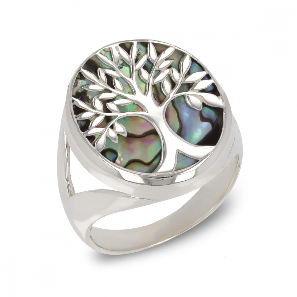 Jewelry Symbol Tree of Life-Ring-Mother of Pearl abalone- Sterling Silver-Woman