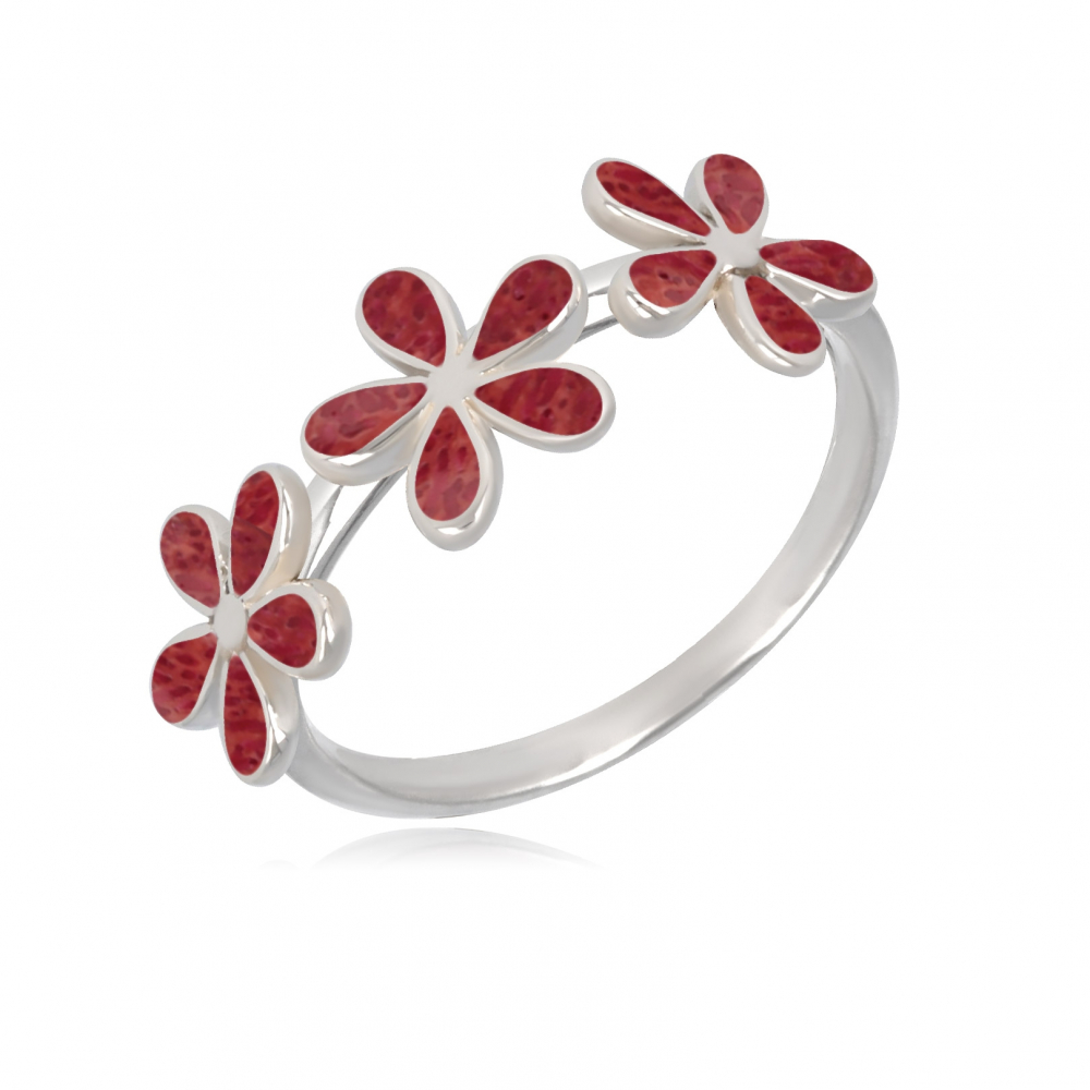 925 Sterling Silver Coral Flowers Ring