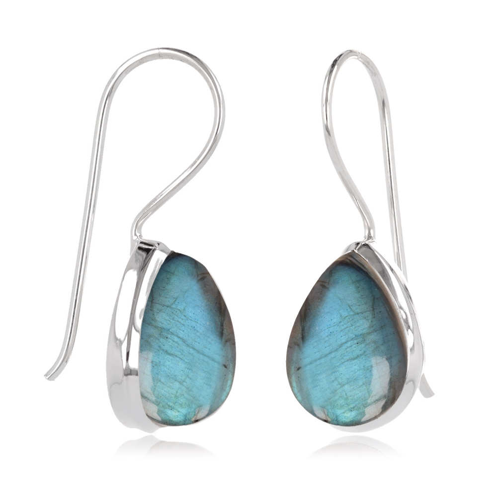 Pear-shaped Labradorite earrings set with sterling silver