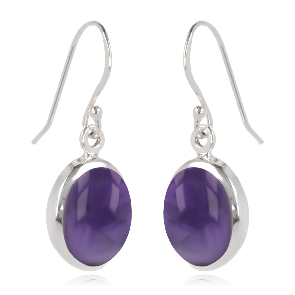 Oval-shaped amethyst earrings set with sterling silver