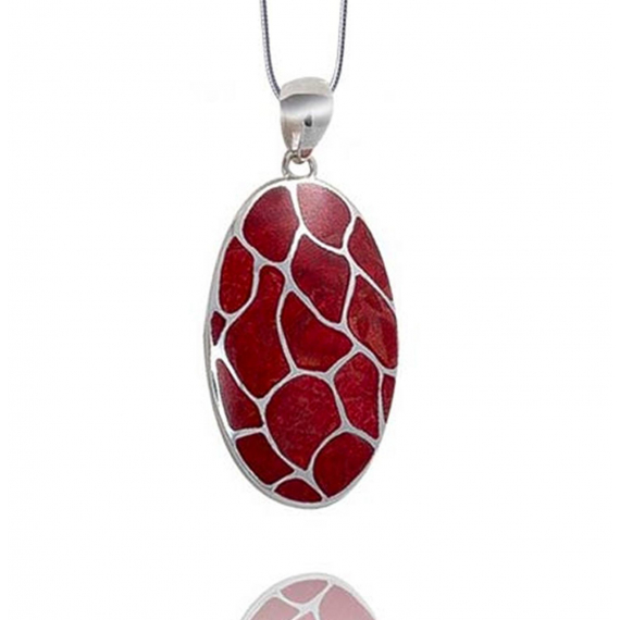 925 Sterling Silver Coral Oval Shape Pendant