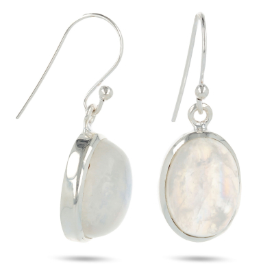 Ovalshaped moonstone earrings set with sterling silver