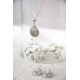Gift cabochon jewelry-Pendant - Mother of Pearl White- Sterling silver-oval-woman