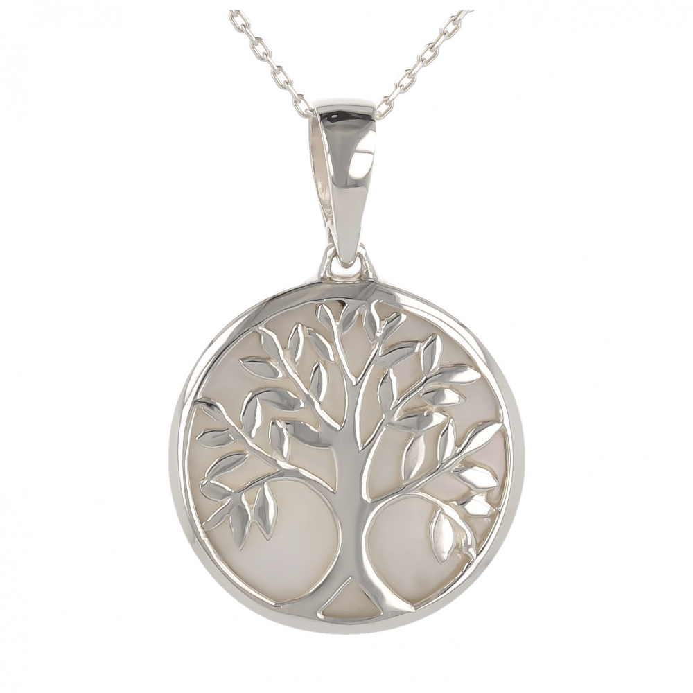 Jewelery Gift Symbol Tree of Life-Pendant -Mother of pearl- Sterling Silver-Round-Unisex