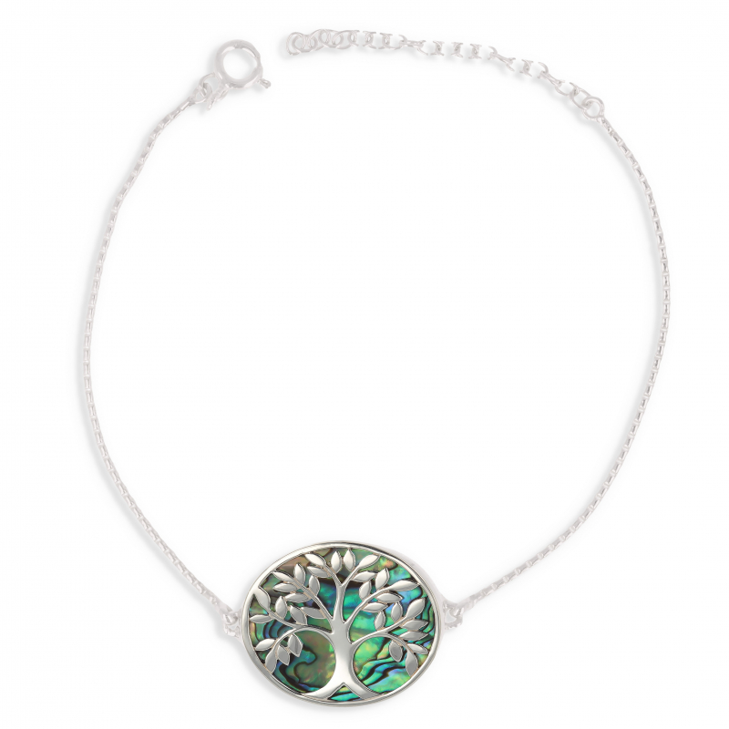 925 Sterling Silver Abalone Mother-of-pearl Tree of Life Bracelet