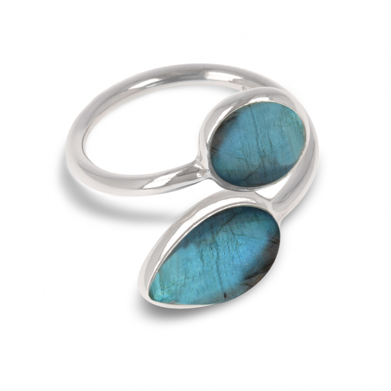 gift for his wife ring Woman duo gemstones and rhodium silver 925-000