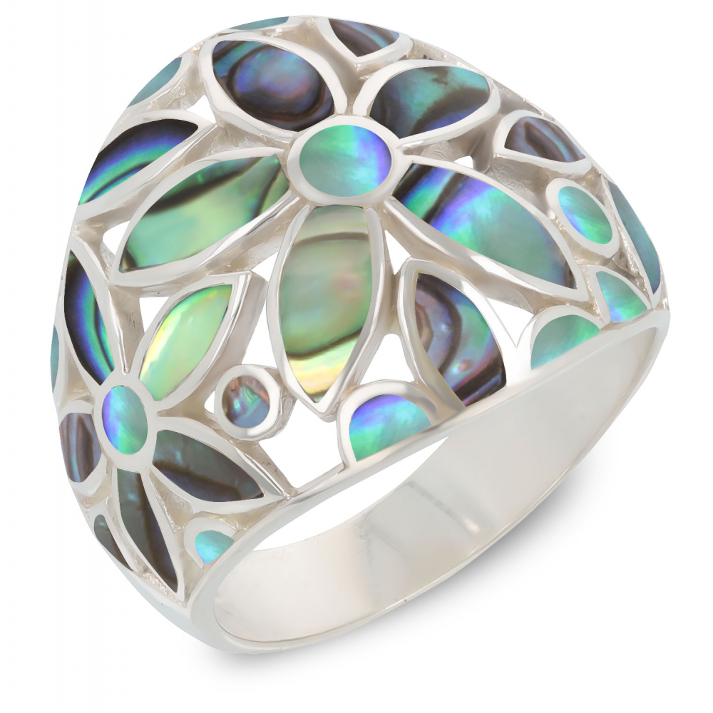 Gift Jewelry-Ring-Flower-Abalone Mother of pearl- Sterling Silver-Woman
