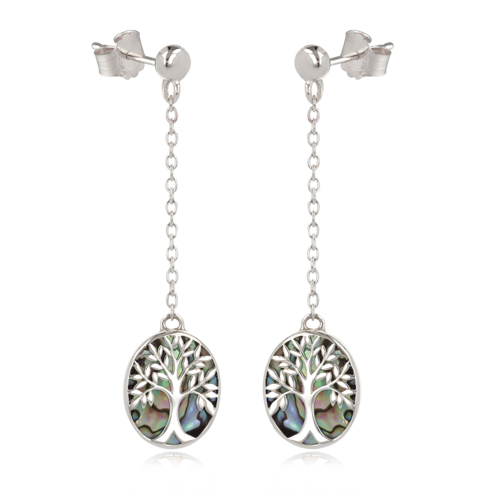 gift idea for women-Gift Jewelry Symbol Tree of Life-Earrings - abalone mother of pearl Sterling Silver-Oval-Woman