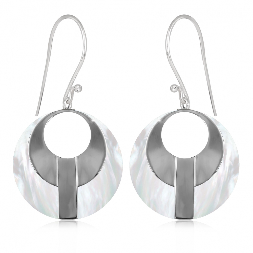 white Mother-of-pearl earrings and silver ethnic