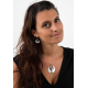 white Mother-of-pearl pendant and silver ethnic