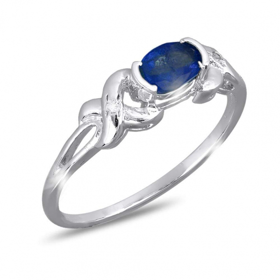 925 Sterling Silver Sapphire and Diamonds Ring
