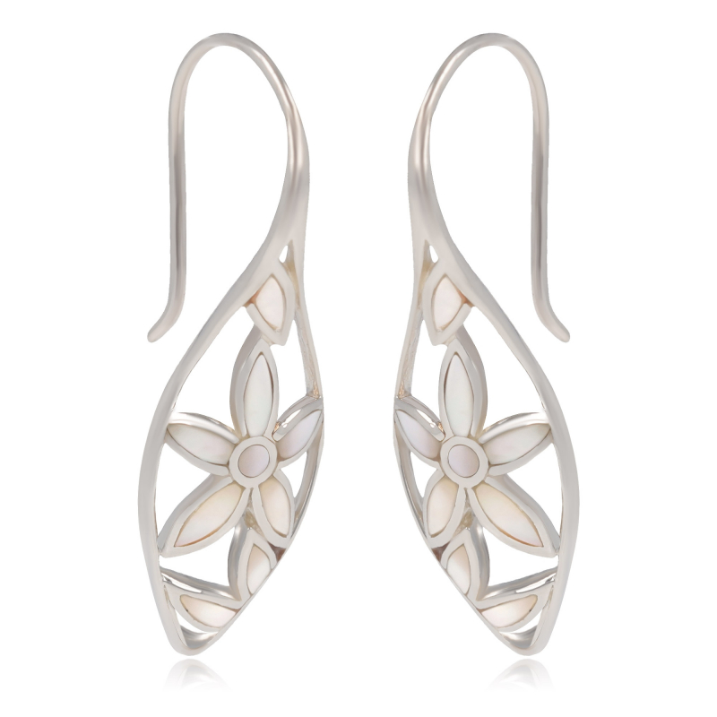 925 Sterling Silver White Mother-of-pearl Flowers Earrings