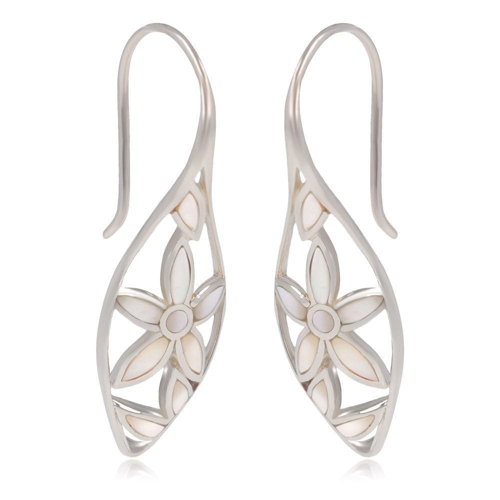 Jewelery Gift- Earrings - White Mother of pearl- Flower-Sterling Silver-Woman