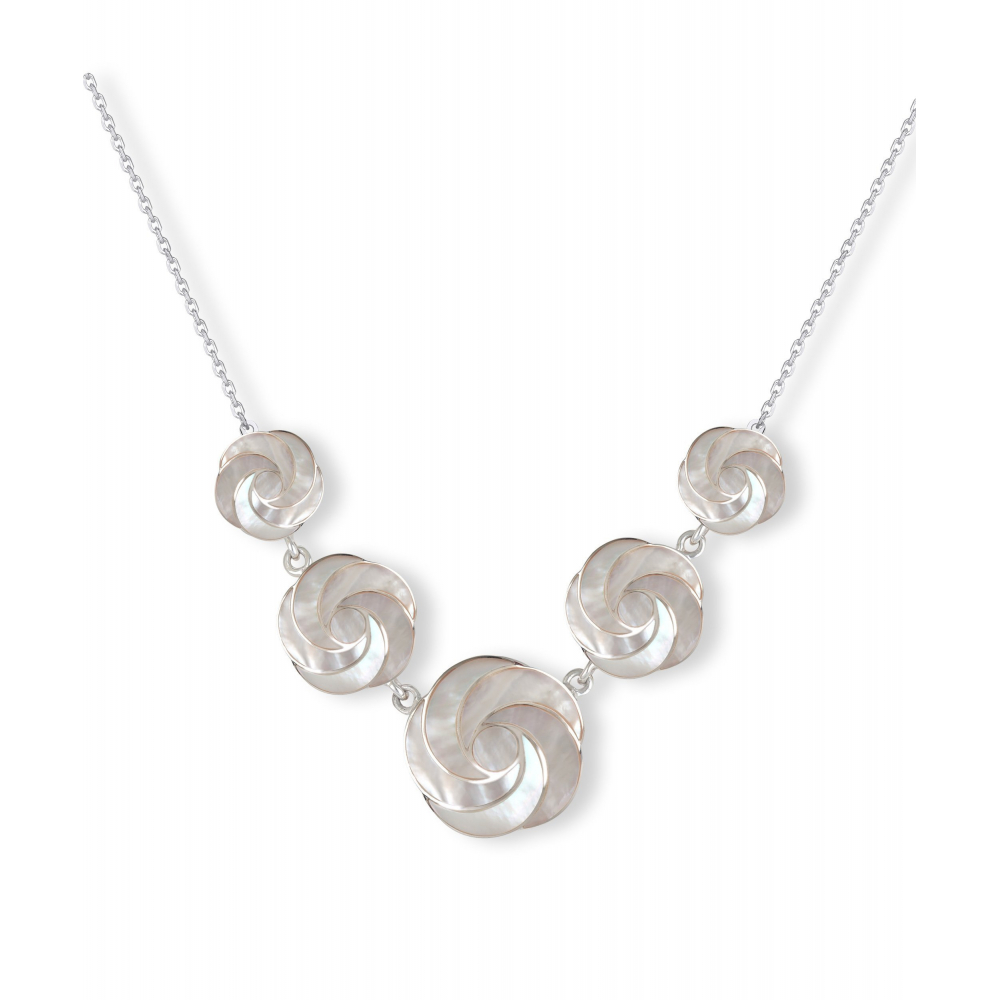 Mother of pearl necklace white spiral effect on silver chain 925-thousandth rhodium