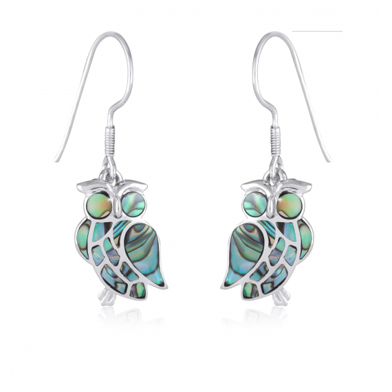 925 Sterling Silver Abalone Mother-of-pearl Owl Earrings
