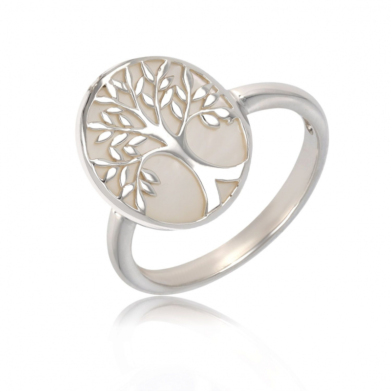 925 Sterling Silver White Mother-of-pearl Tree of Life Oval Shape Ring