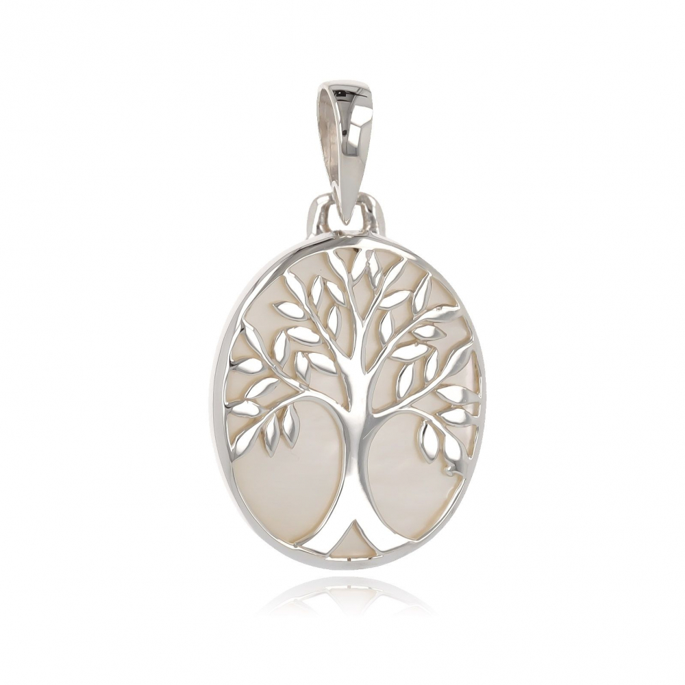 925 Sterling Silver White Mother-of-pearl Tree of Life Oval Shape Pendant