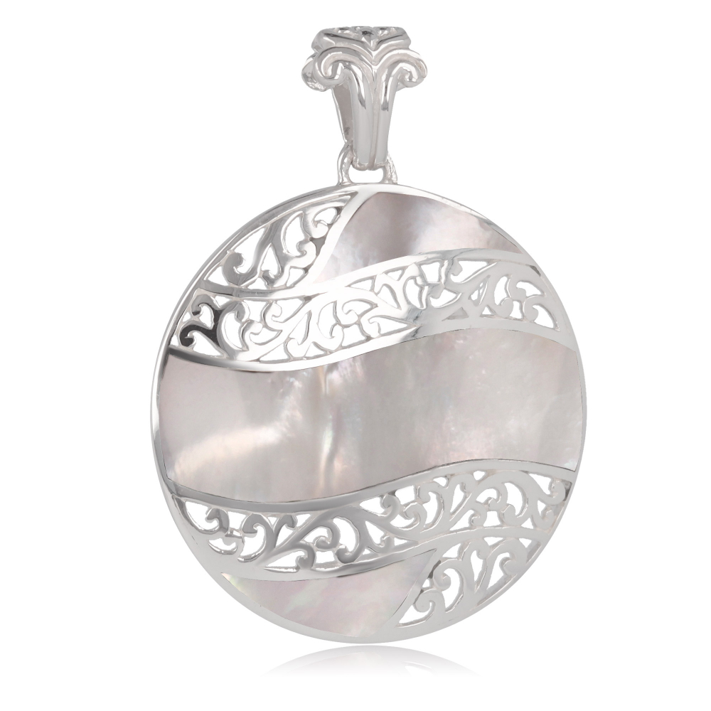 925 Sterling Silver White Mother-of-pearl Round Shape Pendant