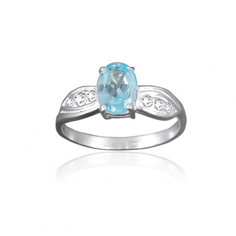 Sterling silver solitaire Topaz Ring